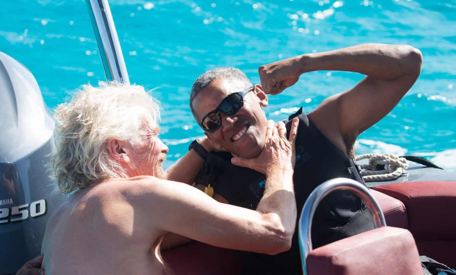 Obama de vacaciones con su amigo billonario Richard Branson