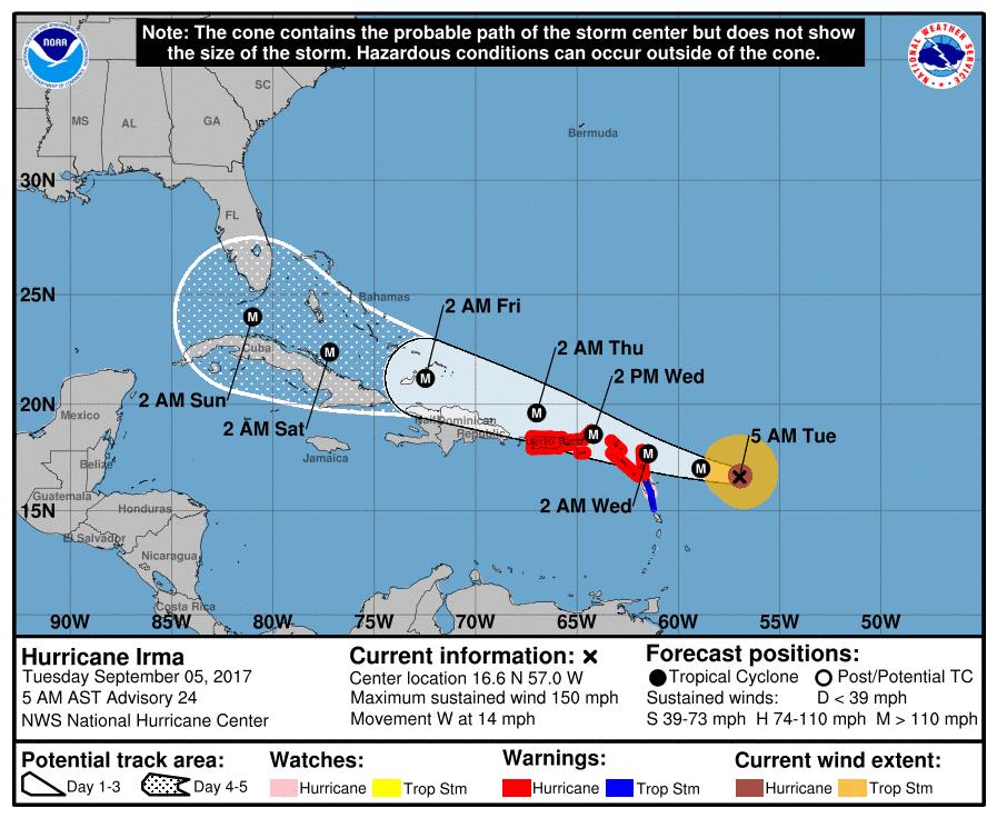 Huracán Irma a punto de alcanzar la Categoría 5