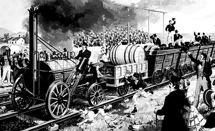"""Júbilo popular por el arribo de la locomotora """"Rocket"""" a la ciudad (Según el dibujo de una revista ilustrada)"""
