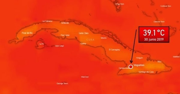 Nuevo récord de calor en Cuba. 39.1°C en Veguitas, Granma.