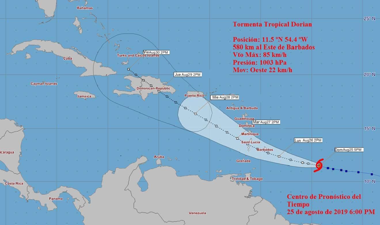 Cono de trayectoria de la tormenta tropical Dorian
