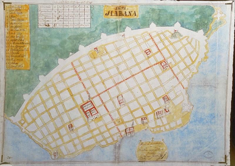 Mapa de la Habana en 1691