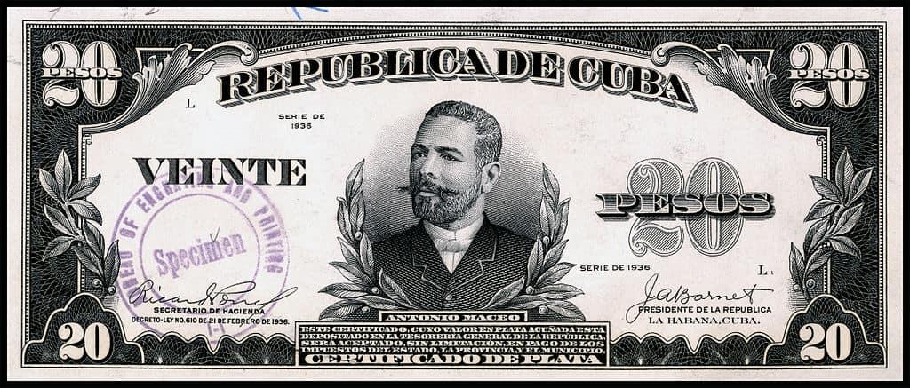 Certificado por 20 pesos del año 1936 con la imagen de Antonio Maceo