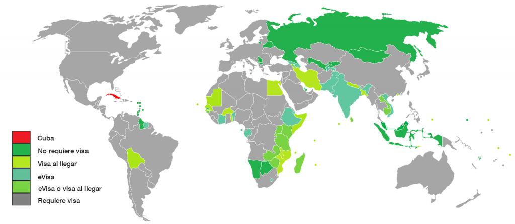 Países a los cuáles, los cubanos, pueden viajar sin visado